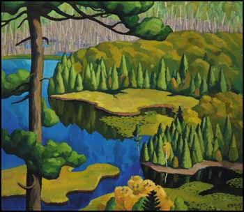 1939 wilderness scene - Great Bug Pond, Cache River by Edwin Holgate