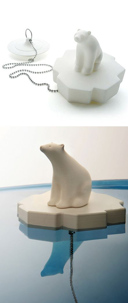 White Polar Bear Bath Plug / too cute!