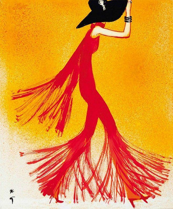 Lady in Red, illustration René Gruau, 1970.