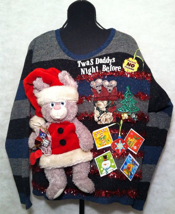 Mens Xl Ugly Christmas Sweater Dad Mouse Twas The Night Before Mice
