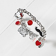 Hello Kitty Mustache Charm Bracelet