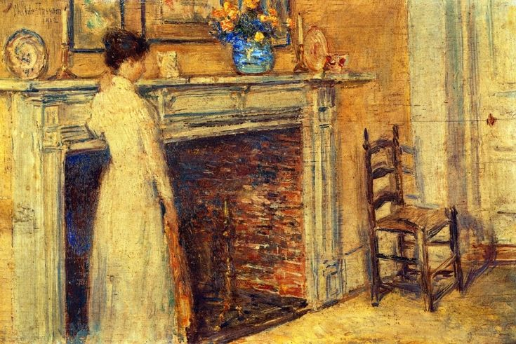 """""""The Fireplace""""  Childe Hassam"""