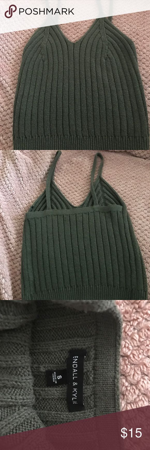 Kendall&kylie Olive Green knitted Crop Top Only worn it once!  Good condition I love it I don't fit into it no more just had a baby! Kendall & Kylie Tops Crop Tops