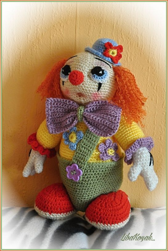 Crochet: clown, buffoon, doll - no pattern but one could quickly figure it out and add some interesting embellishments to make your very own unique clown!