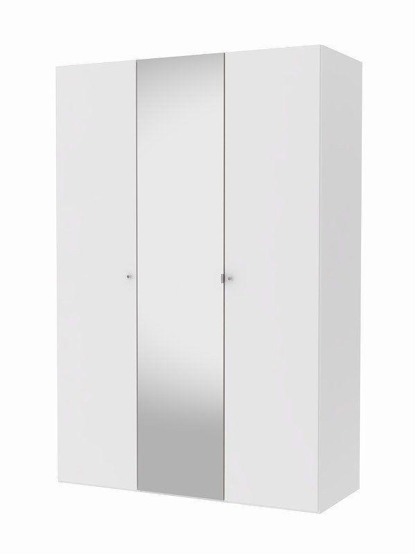 Save Garderobeskab - Hvidt garderobeskab med to hvide låger og en spejllåge. Skabet fra kollektionen Save kommer med en bred og en smal tophylde samt en bred bøjlestang. Der er også mulighed for at tilkøbe ekstra hylder, skuffer og rumdelere. Korpus er hvidt både udvendigt og indvendigt. Skabene har en stilren hvid struktur på ydersiden mens skabene har en lys grå farve indvendigt, som giver kollektionen et flot og elegant udtryk.