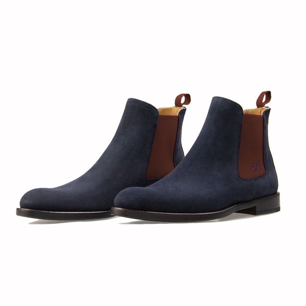 Serfan Chelsea Boot Women Blue Suede Brown Spandex