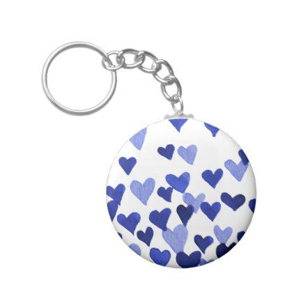 Valentine S Day Watercolor Hearts Blue Keychain