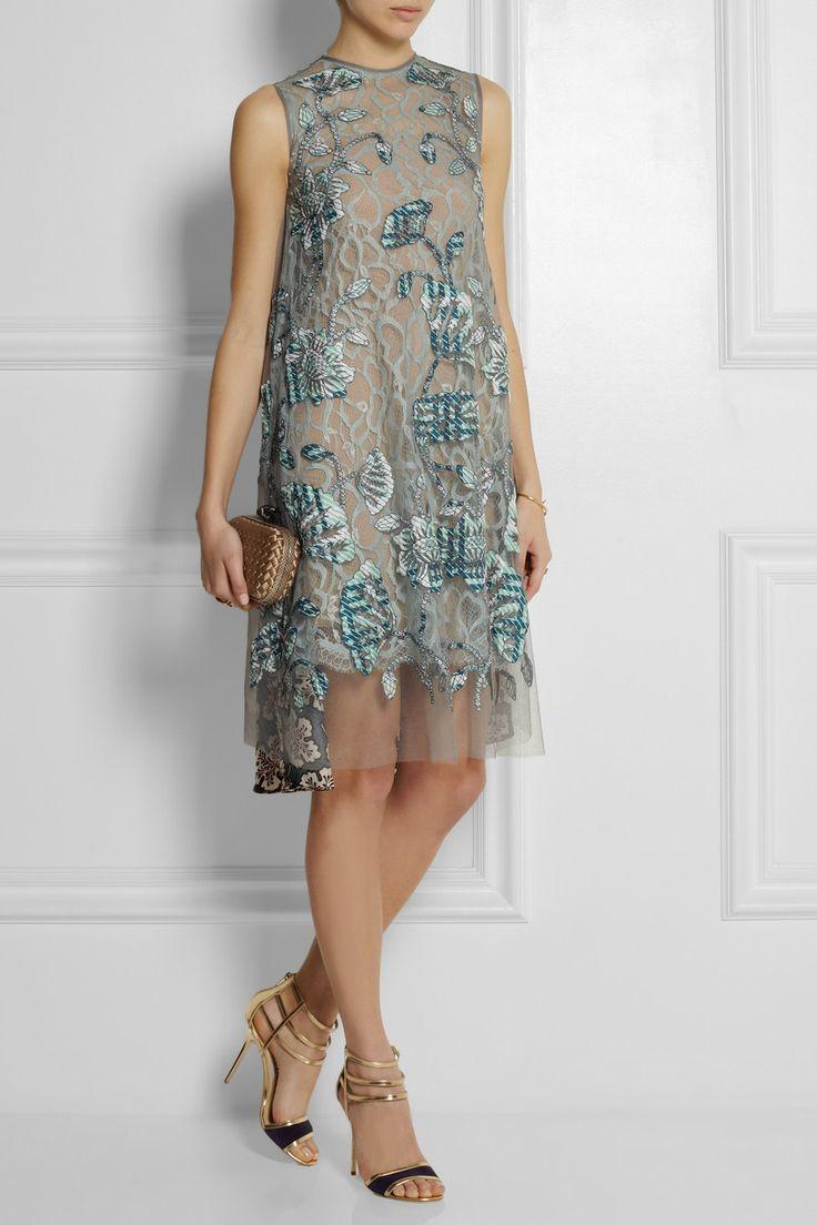 Biyan|Agatha appliquéd tulle and silk-blend twill dress  PER-effing-FECTION. The end of my short story.