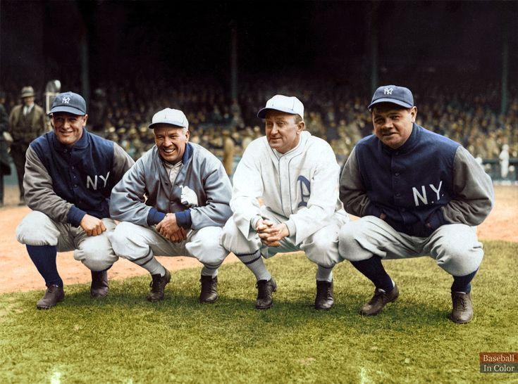 Lou Gehrig, Tris Speaker, Ty Cobb & Babe Ruth - April 1928