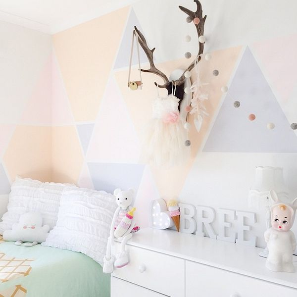 Light and fresh pastel room with geometric walls