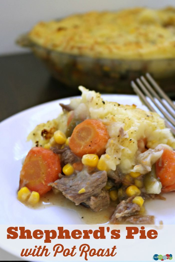 Shephered's Pie with Pot Roast is a terrific way to use up leftover pot roast and turn it into a whole new meal. This is especially nice if you have family members that turn up their nose at the word leftovers. Yep we know the ones :)