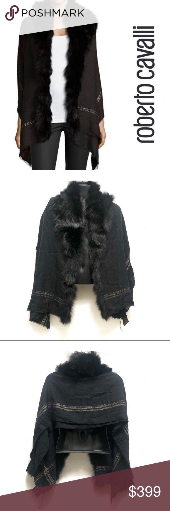 Roberto Cavalli Fox Fur Metallic-Stripe Shawl Bran…