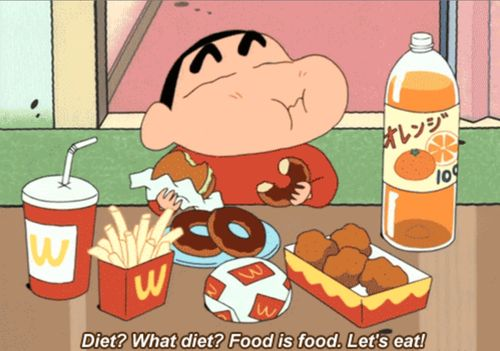 Diet? What diet? Food is food. Lets eat! #Shin-Chan