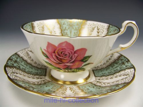 PARAGON PINK ROSES LIGHT GREEN TEA CUP AND SAUCER