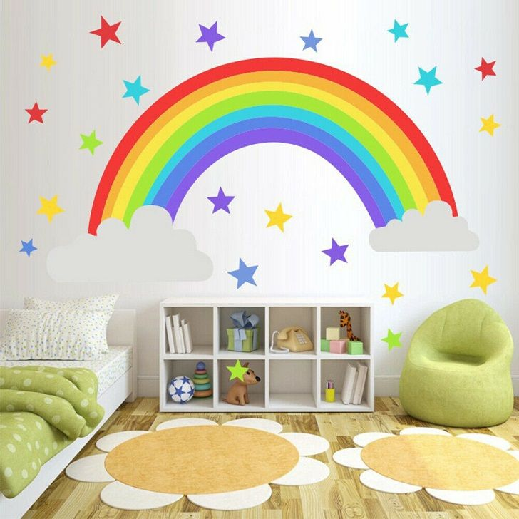 Creative Rainbow Decoration Ideas And Bright Colors In Kids Bedrooms Rainbow Decor Kids R Rainbow Wall Stickers Kids Room Wall Stickers Rainbow Wall Decal