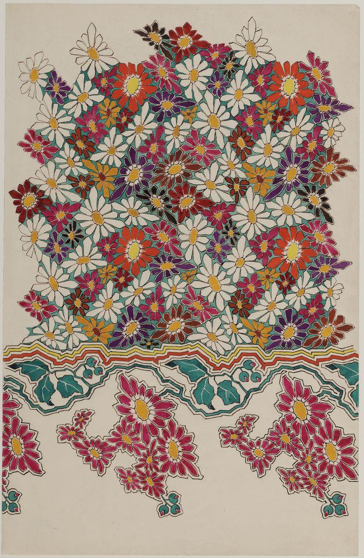Ontwerptekening voor tapijt met bloemmotieven in verschillende kleuren | G.H. van Beek (1883-1950) | 1900 | Deventer Musea | CC BY-SA