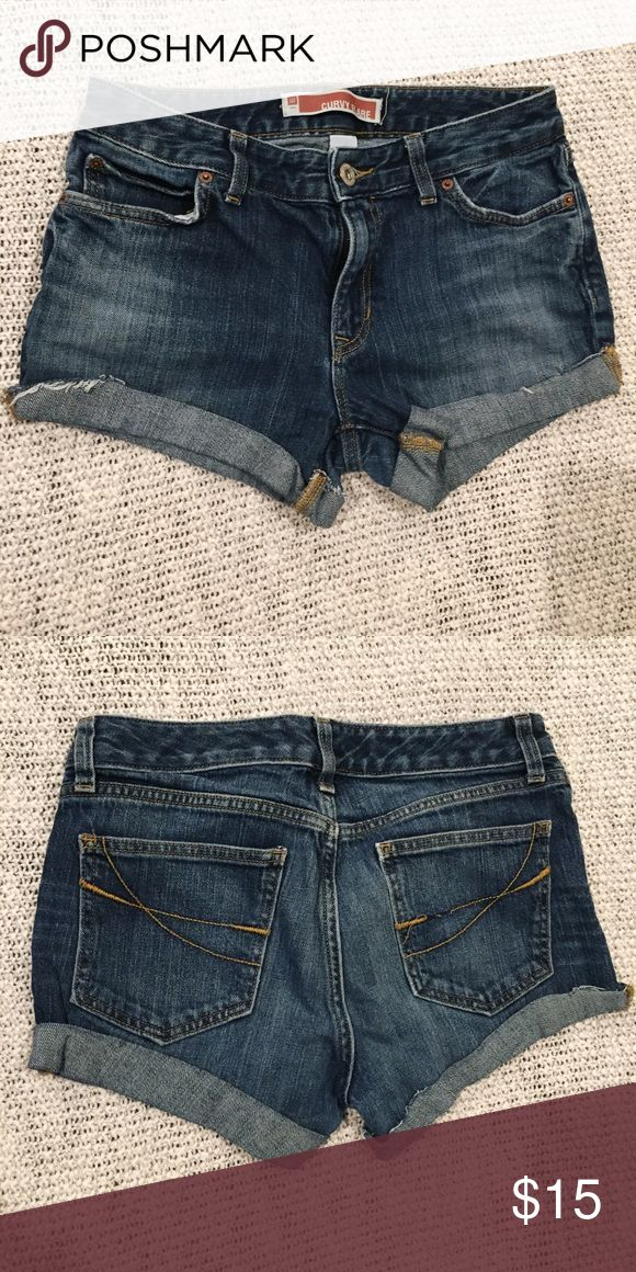 Curvy jean cut off shorts Gap curvy flare jean cut off shorts. Size 8. Cut these myself. Very cute! Just too small for me. GAP Shorts Jean Shorts