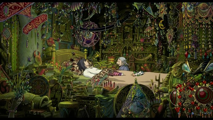Howl's character of a playful yet mysterious magician - and his ornate room.