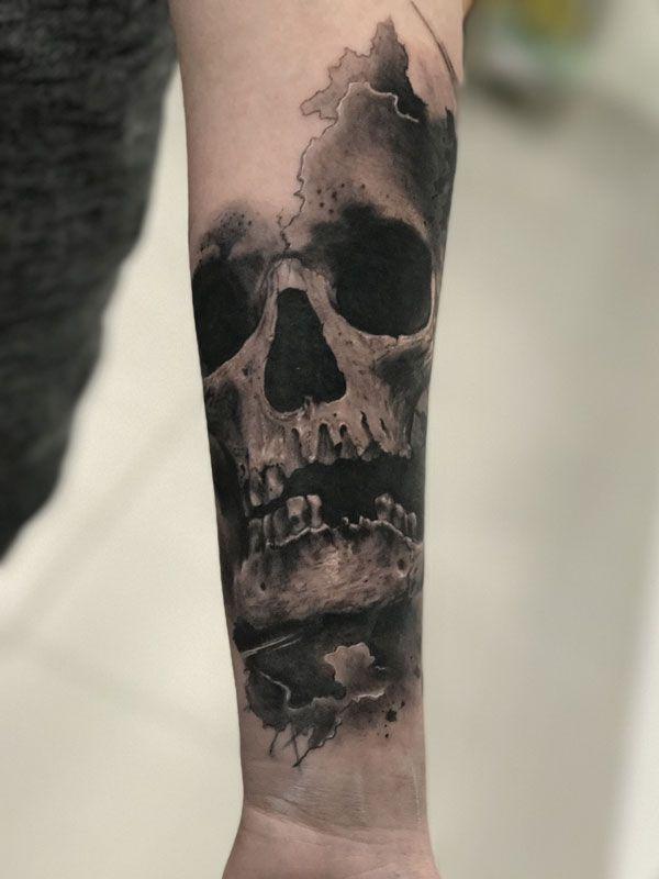 Skull Realistic Tattoo Watercolor Black And Gray Skull Tattoos Black And Grey