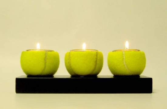 Tennis Ball Candle Holders