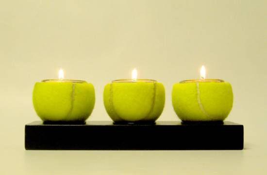 tennis balls + candles