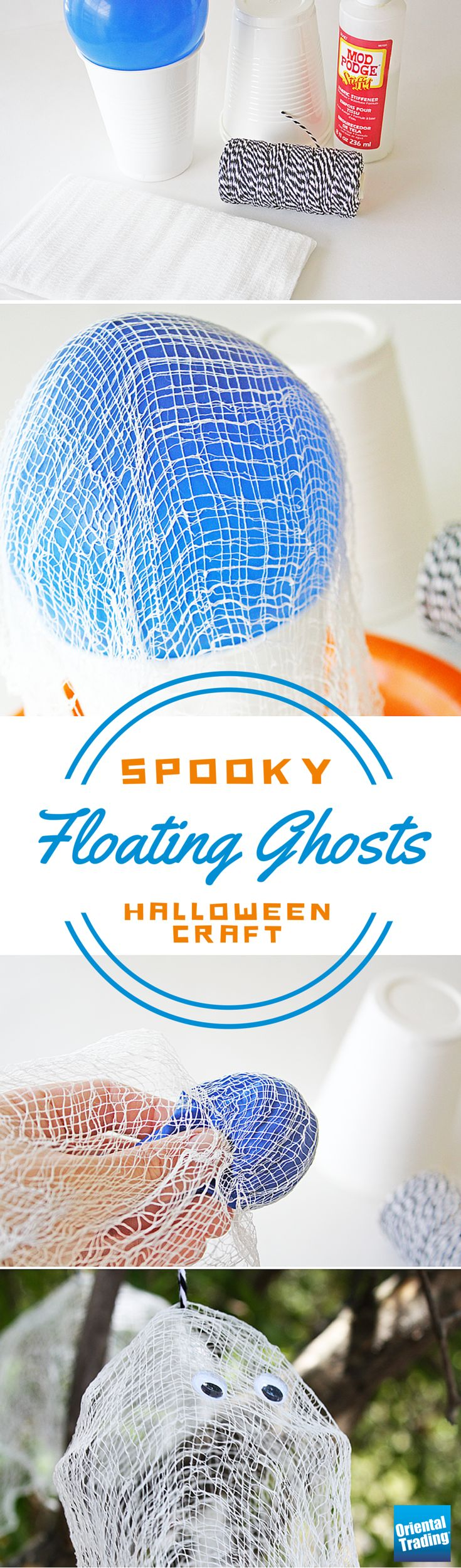 Make these spooky floating ghosts to add some fun to your Halloween decor! Floating ghosts look great hanging from trees outdoors or even placed on your fireplace mantel. Light them up with a glow stick or a tea light candle to give them an eerie glow.