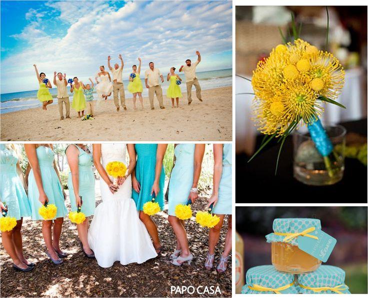 cores para casamento azul e amarelo