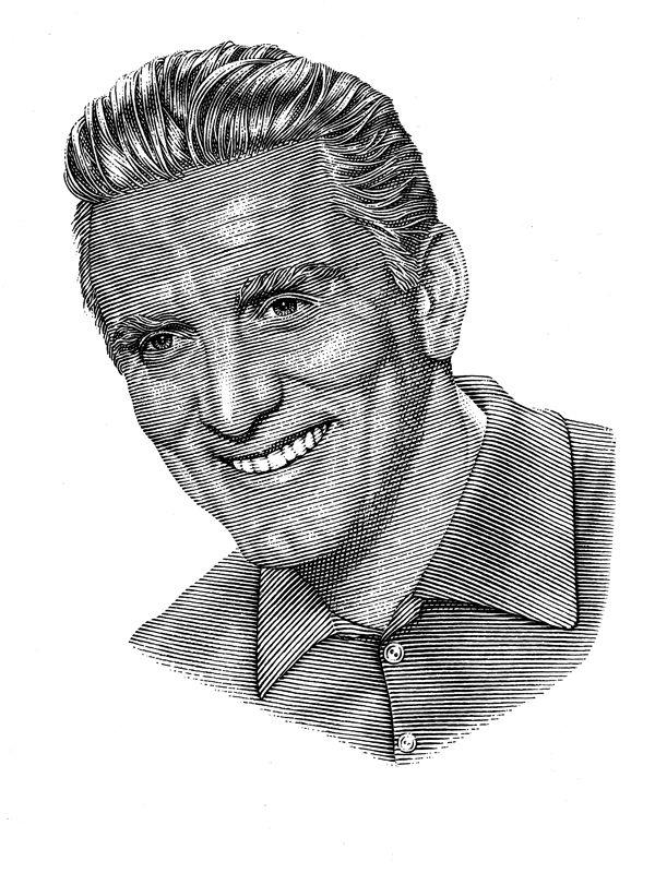 Pen & ink portrait of Kirk Douglas.