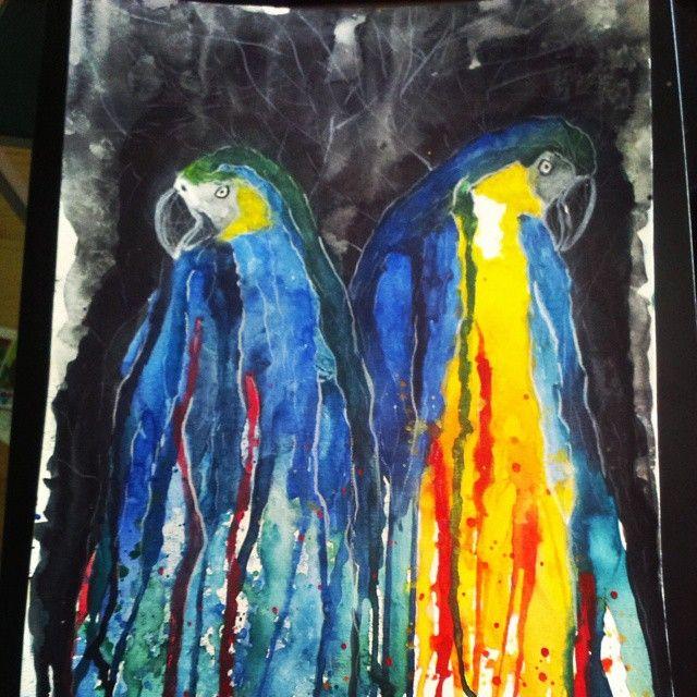 Parrots/Watercolor