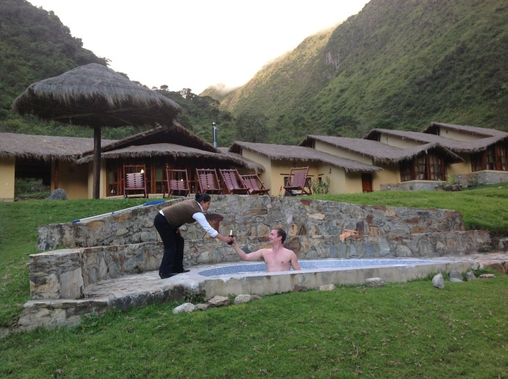 Hiking to Machu Picchu... A cold beer and a hot spa after day 4 of the 6 day trek. Luxury trekking with Mountain Lodges of Peru.