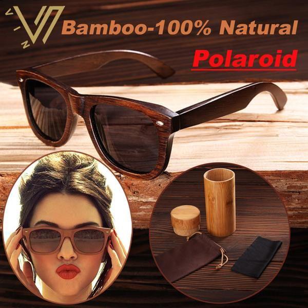 FuzWeb:100% Real Top Bamboo Wood Wooden Sunglasses Polarized Handmade Wood Mens Sunglass Men Gafas Madera