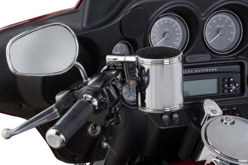 Motorcycle Cup Holder - Kruzer Kaddy Chrome Handlebar Mountable Cup Holder. For product info go to:  https://www.caraccessoriesonlinemarket.com/motorcycle-cup-holder-kruzer-kaddy-chrome-handlebar-mountable-cup-holder/