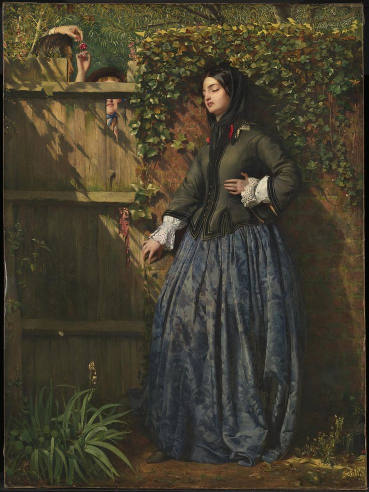 Broken Vows (1856) Philip Hermogenes Calderon /The title suggests that the woman has discovered that her lover,whose initials are carved in the fence,has been unfaithful.Further details,the discarded necklace & dying flowers,indicate her unhappy situation.The ivy-covered wall may symbolise her previous belief that their love was everlasting.Disappointed love was a popular theme in Victorian painting & viewers were expected to unravel the situation from the symbols & expressions of the…