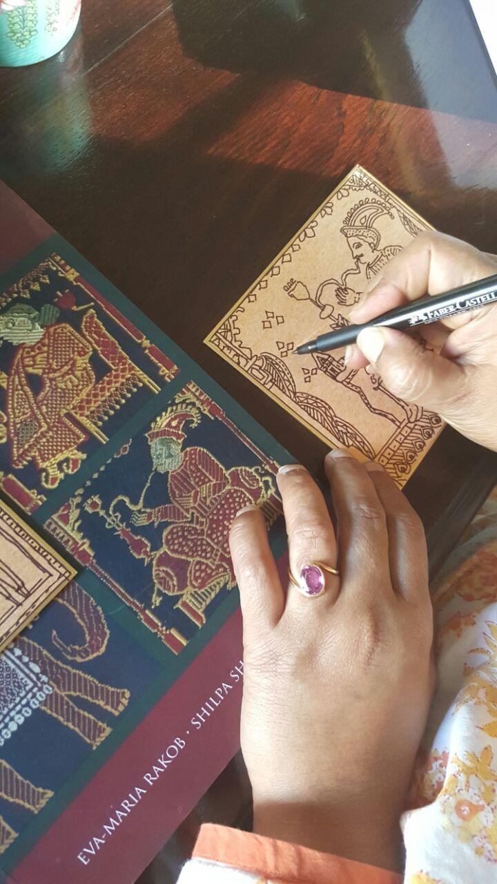 Jaysree Burman drawing #baluchari. #WeaversStudio #DarshanShah #Handwoven #Kolkata