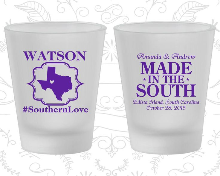 Southern Love, Made in the South, Wedding Favor Frosted Glass, Country Wedding, Rustic, Frosted Shot Glasses (599)