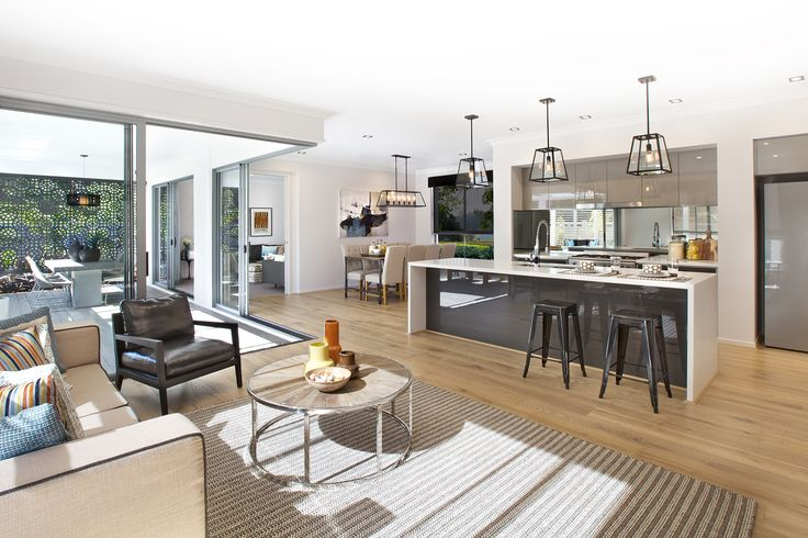 Clarendon Homes. Parkhill 36 - Springfield. Incorporating the family room and kitchen into one functional space.