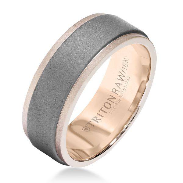 Raw matte Tungsten Carbide insert within 18-karat rose gold ring creates a look that's innovative but understated.  Ring by TritonRAW