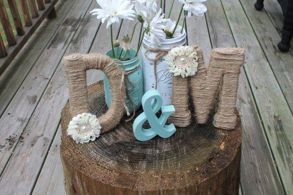 Jute Wrapped Monograms w/Ampersand - Shabby Chic  Rustic Wedding Decor on Etsy, $55.00