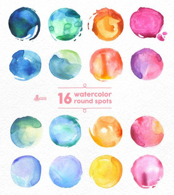Watercolor Round Spots Clipart 16 Digital Files Hand Painted