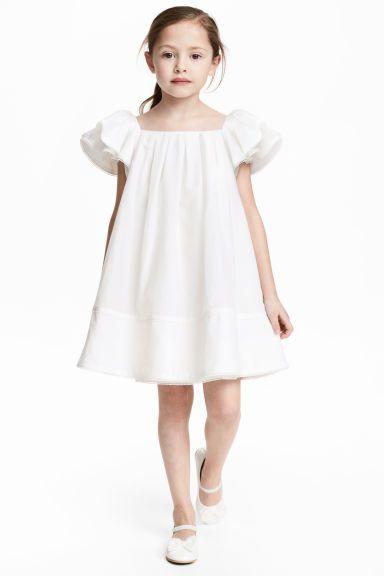 Vestido em mistura seda - Branco - | H&M PT 1