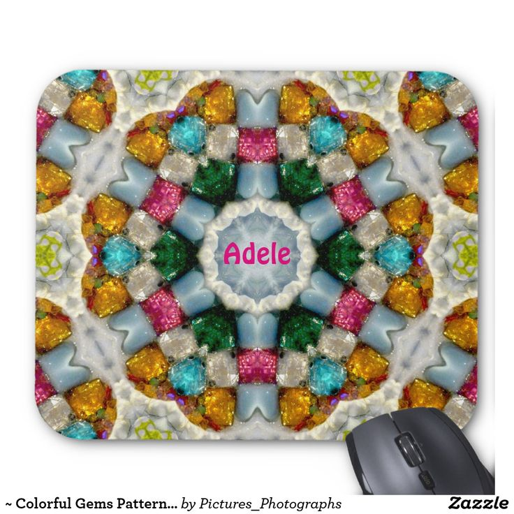 ~ Colorful Gems Pattern ~ Personalised ADELE ~ Mouse Pad