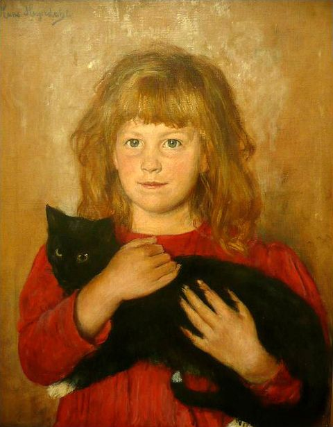 Girl With A Cat - Hans Olaf Heyerdahl (1857-1913)