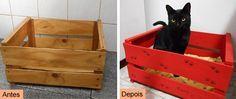 Custom wooden box for cats  See here: http://customizando.net/como-customizar-caixa-para-gatos/