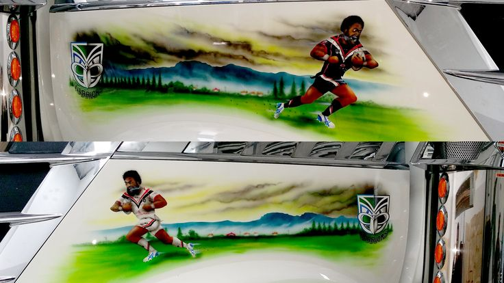 Vodafone Warriors spray art on both sides of Pera Te Amo's truck in Whakatane. It features Manu Vatuvei running the ball #ManuVatuvei #WarriorsForever #Warriors #SprayArt #Art #TruckArt