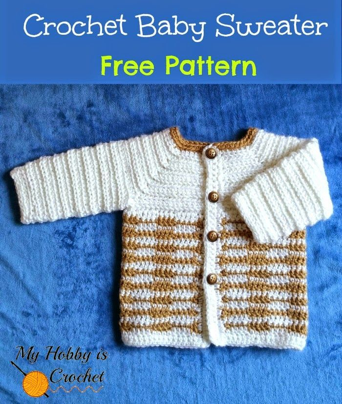 This cute crochet baby sweater was designed for a baby boy, but if you would change the colors, place the buttonholes on the other side and add a cute applique, you'll have a sweet little sweater for
