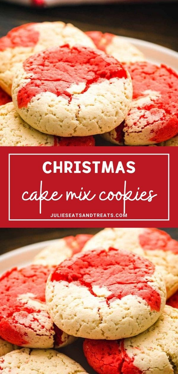 Christmas Cake Mix Cookies are super easy, soft and chewy