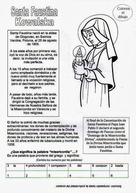 El Rincón de las Melli: Santa Faustina Kowalska (historia y juego)