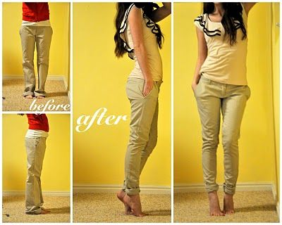 Big pants to skinnies and taking in at crotch- good to know! #sewing