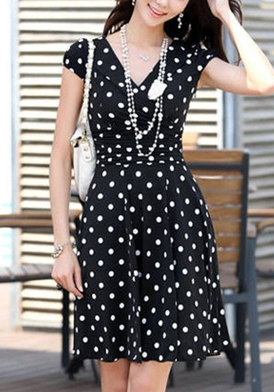Black Polka Dot Print Pleated V-neck Short Sleeve Chiffon Dress