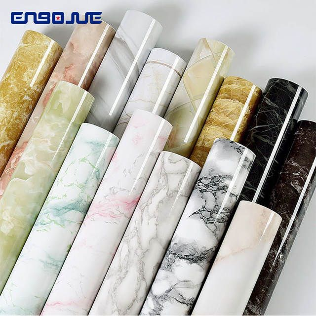 Pvc Self Adhesive Wallpaper Marble Stickers Waterproof Heat